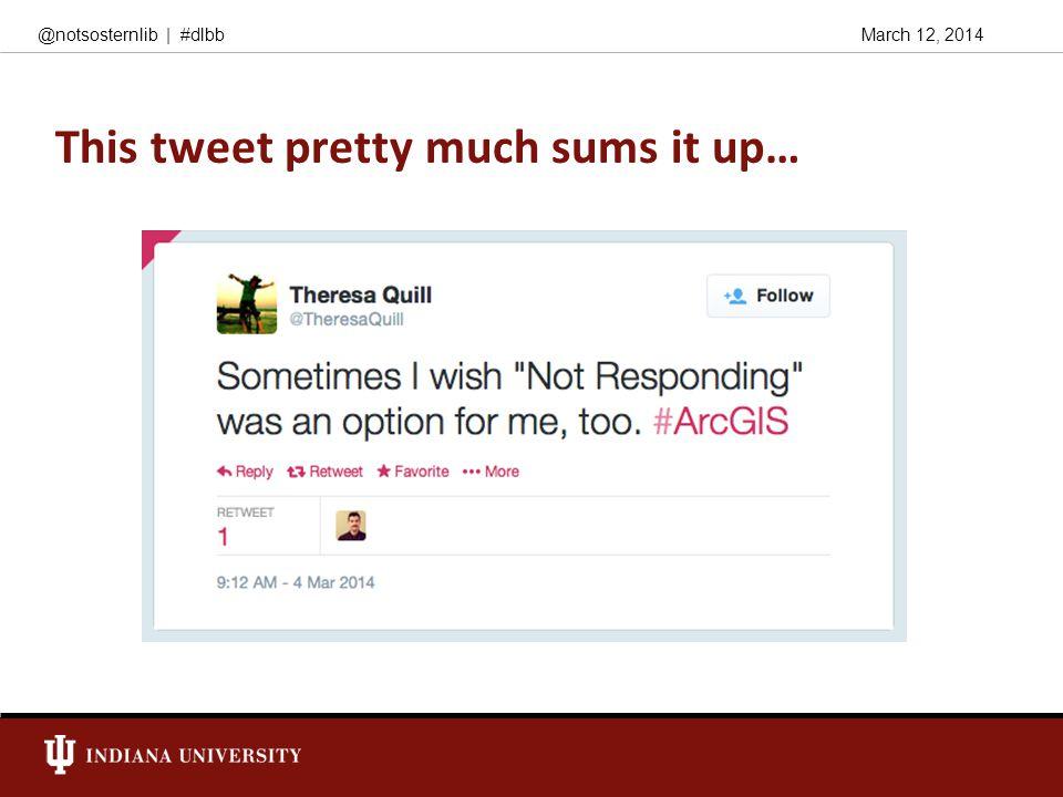 March 12, 2014@notsosternlib   #dlbb This tweet pretty much sums it up…