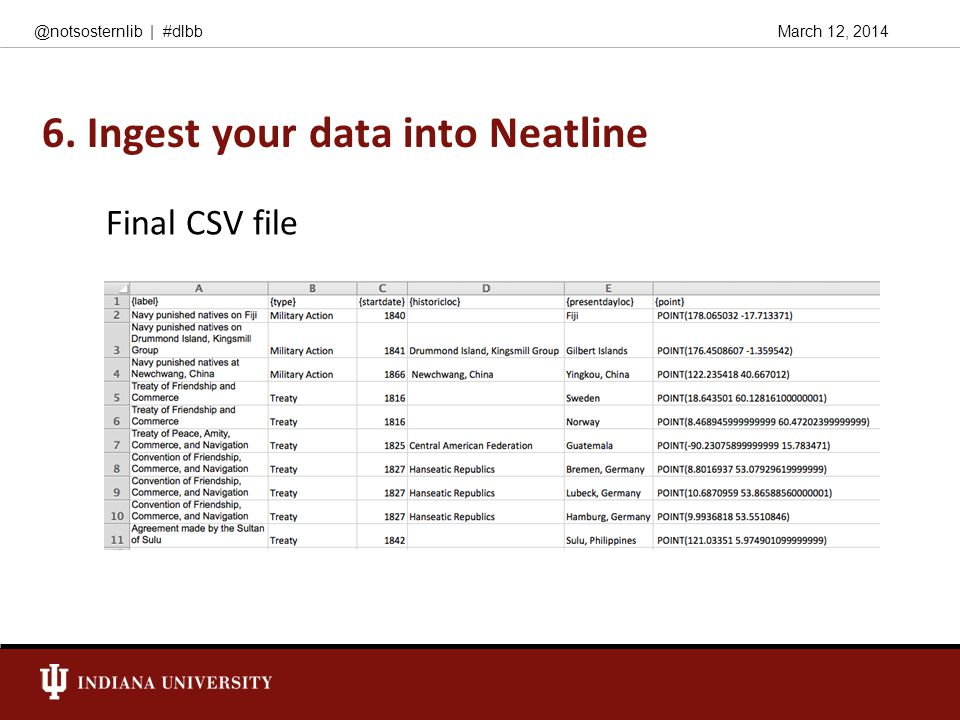March 12, 2014@notsosternlib | #dlbb 6. Ingest your data into Neatline Final CSV file