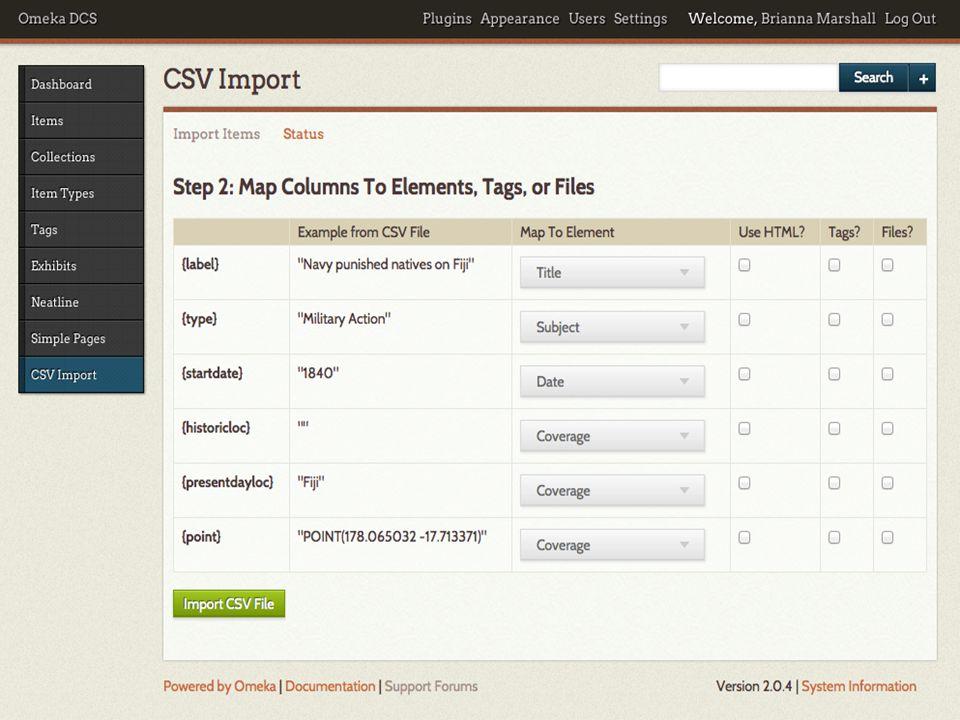 March 12, 2014@notsosternlib   #dlbb 6. Ingest your data into Neatline Final CSV file