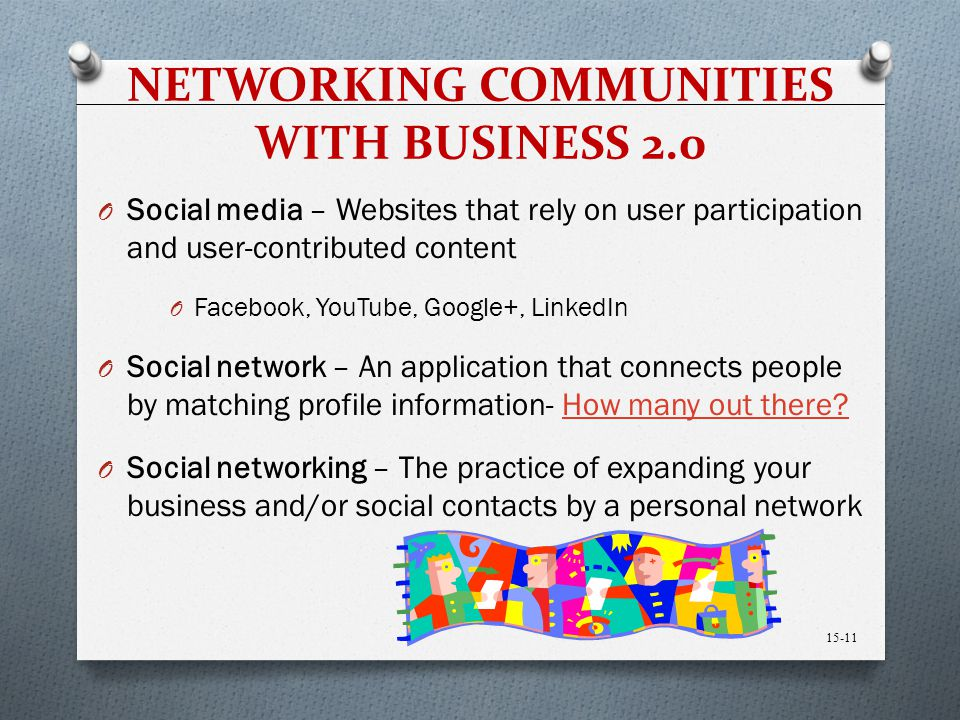 NETWORKING COMMUNITIES WITH BUSINESS 2.0 O Social media – Websites that rely on user participation and user-contributed content O Facebook, YouTube, G