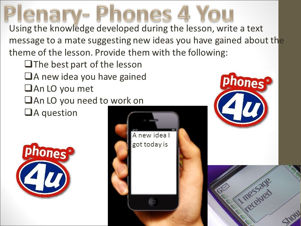 Using the knowledge developed during the lesson, write a text message to a mate suggesting new ideas you have gained about the theme of the lesson.