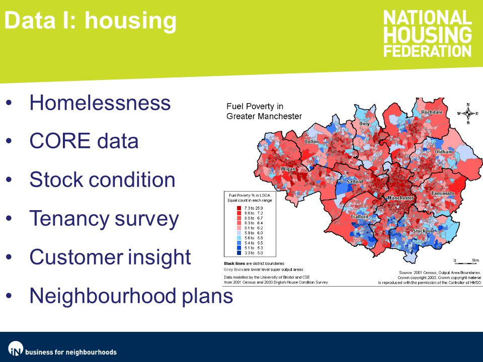 Data I: housing Homelessness CORE data Stock condition Tenancy survey Customer insight Neighbourhood plans