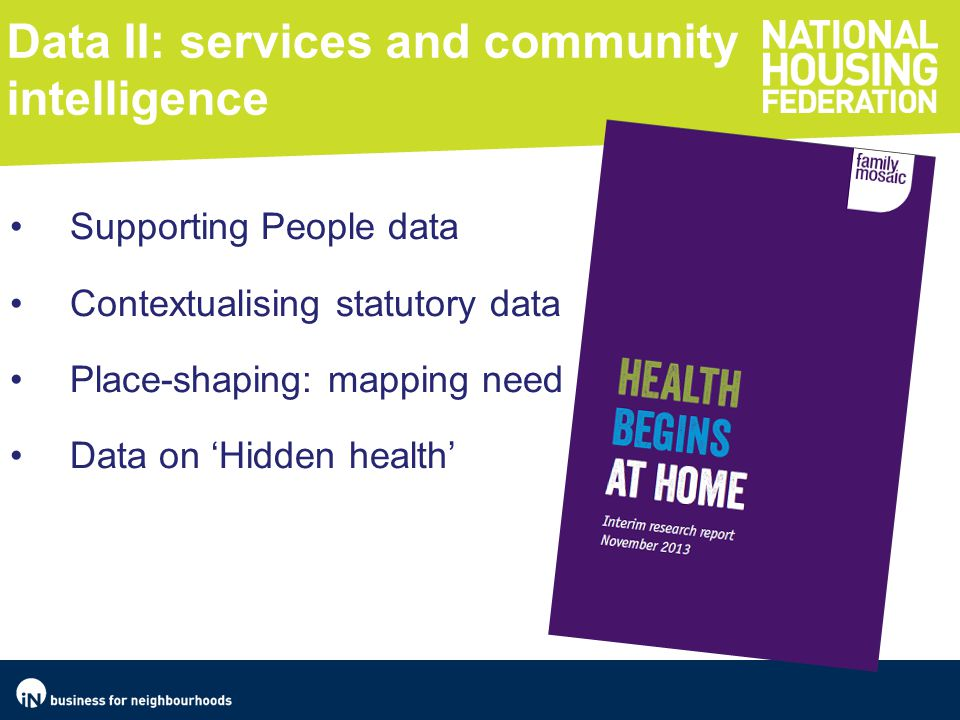 Data II: services and community intelligence Supporting People data Contextualising statutory data Place-shaping: mapping need Data on 'Hidden health'