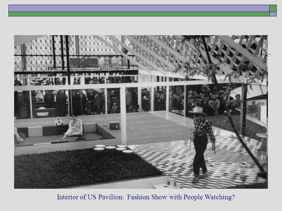 Interior of US Pavilion: Fashion Show with People Watching?