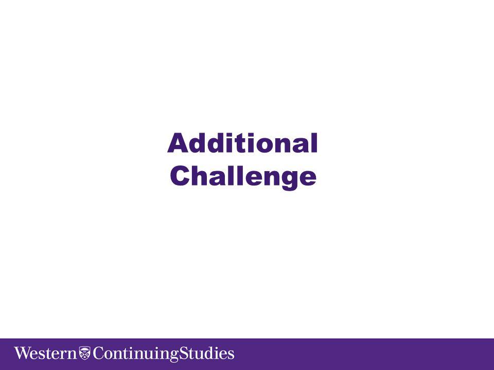 Additional Challenge
