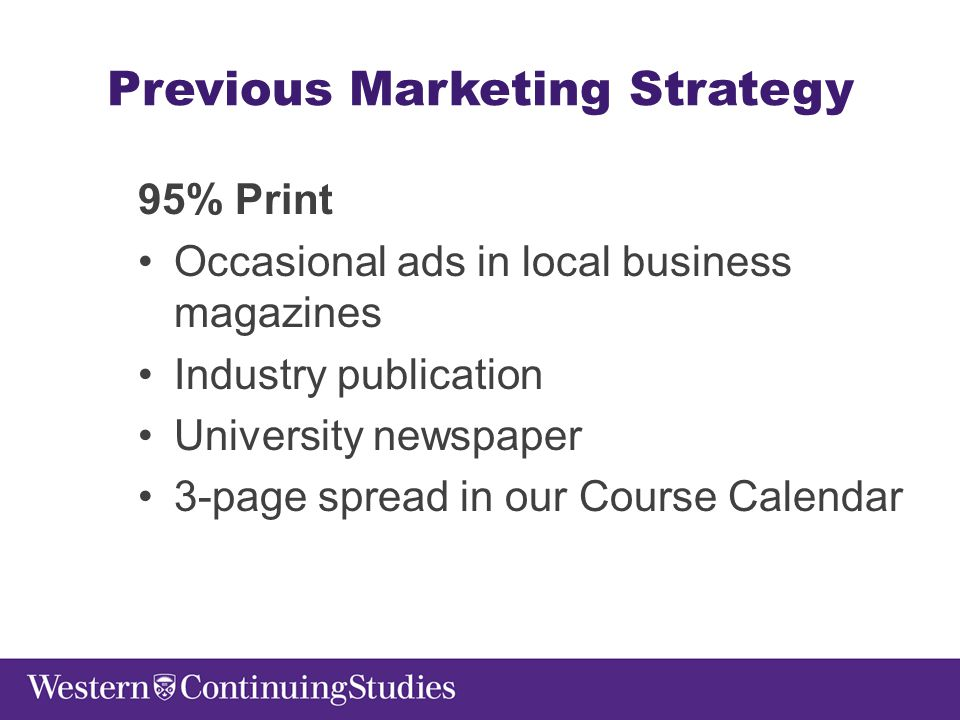 Previous Marketing Strategy 95% Print Occasional ads in local business magazines Industry publication University newspaper 3-page spread in our Course Calendar