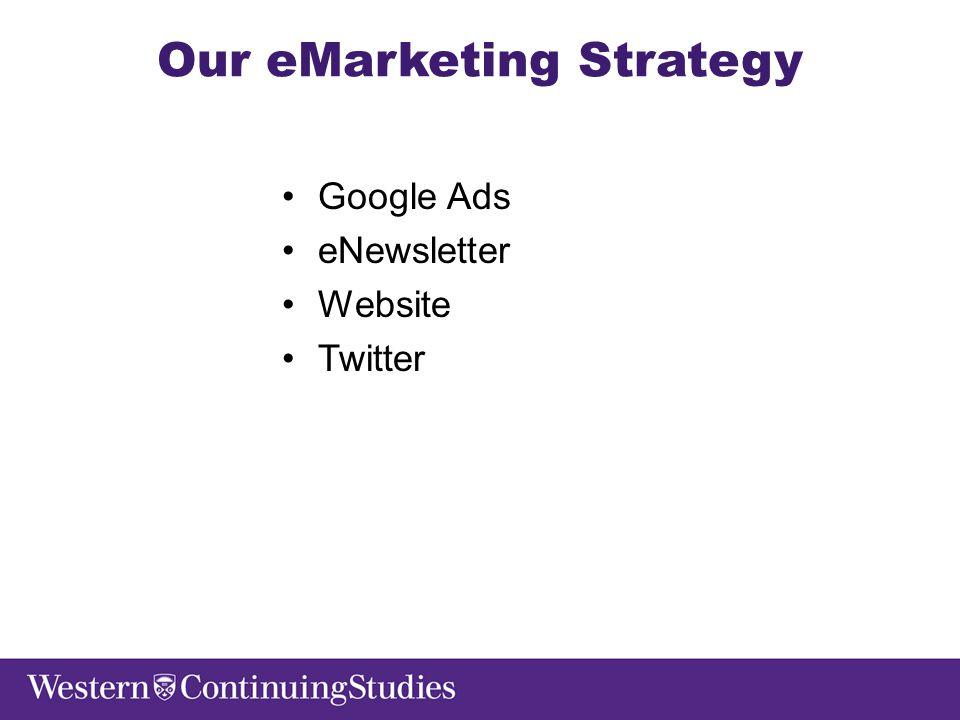 Our eMarketing Strategy Google Ads eNewsletter Website Twitter