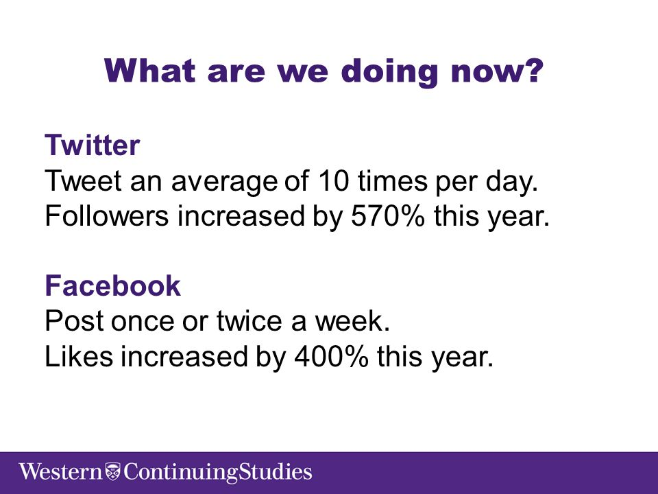 What are we doing now. Twitter Tweet an average of 10 times per day.