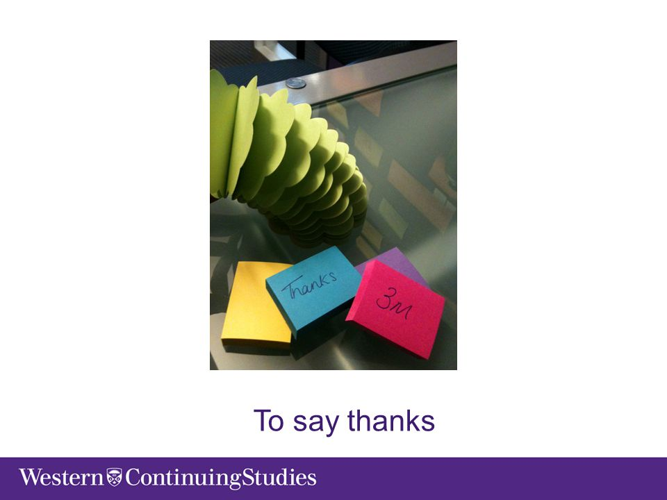 To say thanks