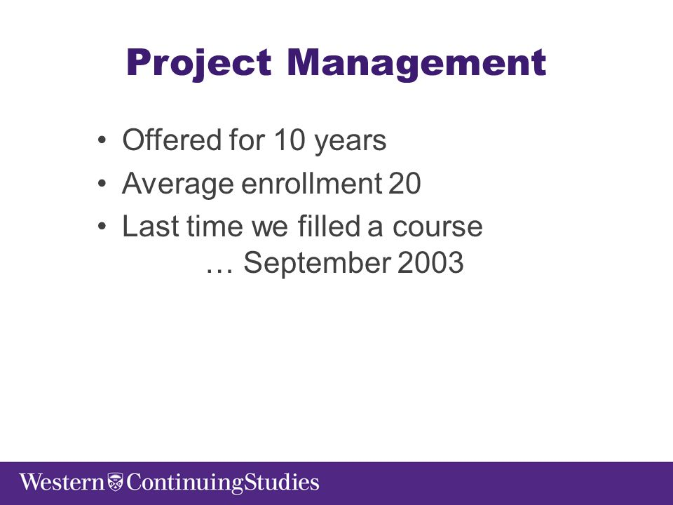 Project Management Offered for 10 years Average enrollment 20 Last time we filled a course … September 2003