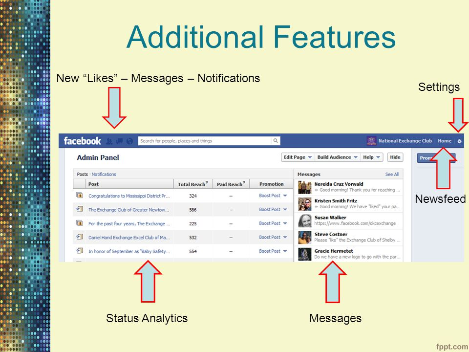 Additional Features Settings New Likes – Messages – Notifications Status AnalyticsMessages Newsfeed
