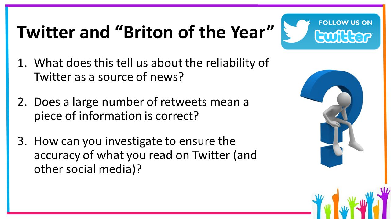 """Twitter and """"Briton of the Year"""" 1.What does this tell us about the reliability of Twitter as a source of news? 2.Does a large number of retweets mean"""