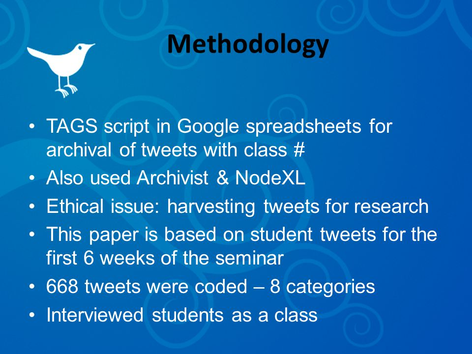 Methodology TAGS script in Google spreadsheets for archival of tweets with class # Also used Archivist & NodeXL Ethical issue: harvesting tweets for research This paper is based on student tweets for the first 6 weeks of the seminar 668 tweets were coded – 8 categories Interviewed students as a class