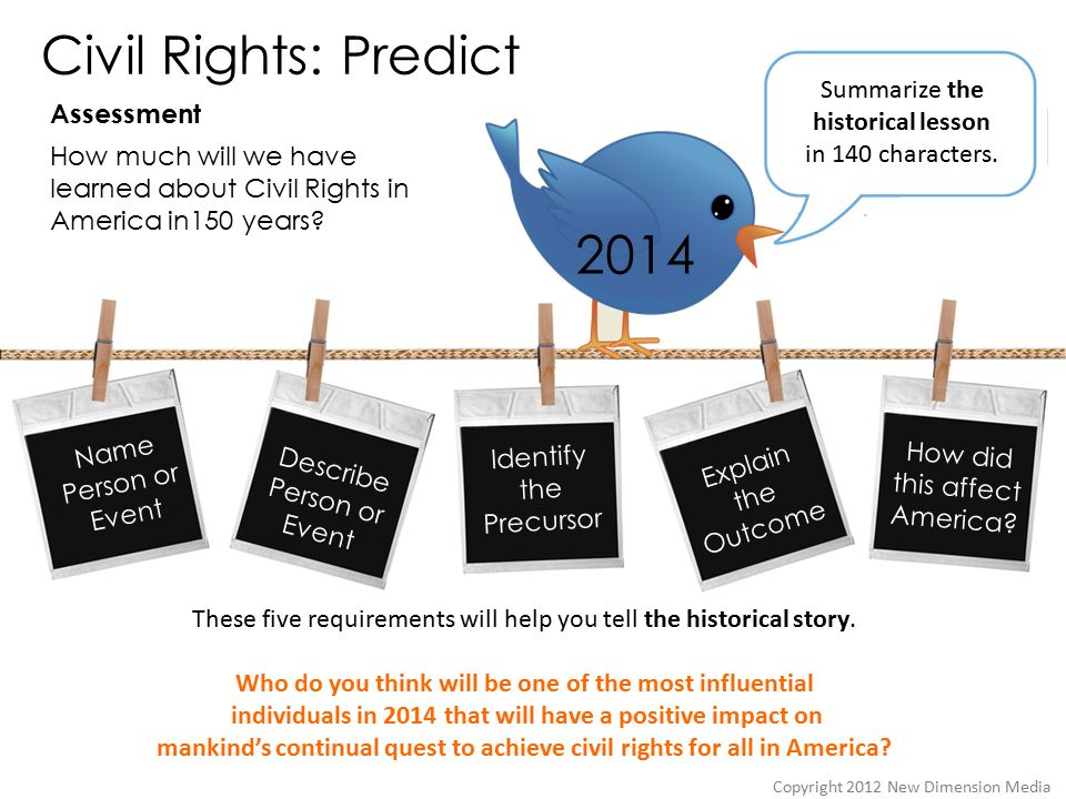 Civil Rights: Predict Assessment Copyright 2012 New Dimension Media Name Person or Event Describe Person or Event Identify the Precursor Explain the Outcome How did this affect America.