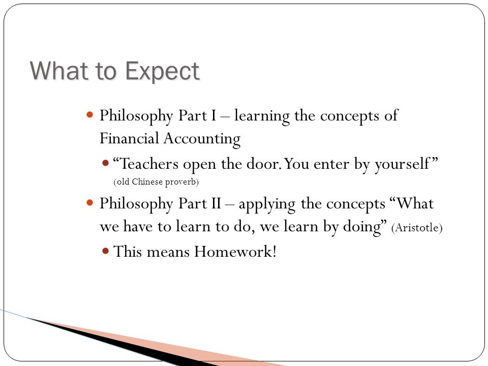 What to Expect Philosophy Part I – learning the concepts of Financial Accounting Teachers open the door.