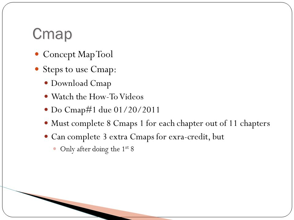 Cmap Concept Map Tool Steps to use Cmap: Download Cmap Watch the How-To Videos Do Cmap#1 due 01/20/2011 Must complete 8 Cmaps 1 for each chapter out of 11 chapters Can complete 3 extra Cmaps for exra-credit, but Only after doing the 1 st 8