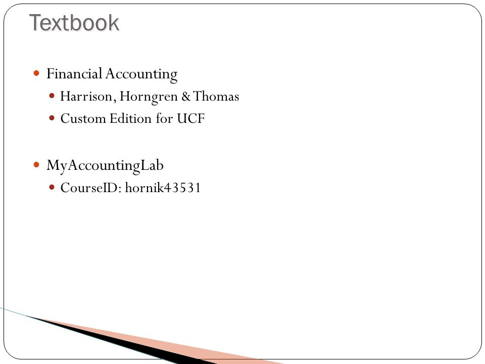 Other Requirements Get Accounts for: Twitter Used for Extra-Credit Second Life Used for Lectures, Virtual Office Hours, Study Groups, HW Assignments and Instruction of Accounting Concepts MyAccountingLab Register for ACG2021 Sumer 2012 - Hornik Course ID: hornik43531 Download Software: Second Life