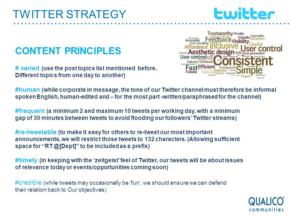TWITTER STRATEGY ………………………………………………………………………… CONTENT PRINCIPLES # varied (use the post topics list mentioned before, Different topics from one day to