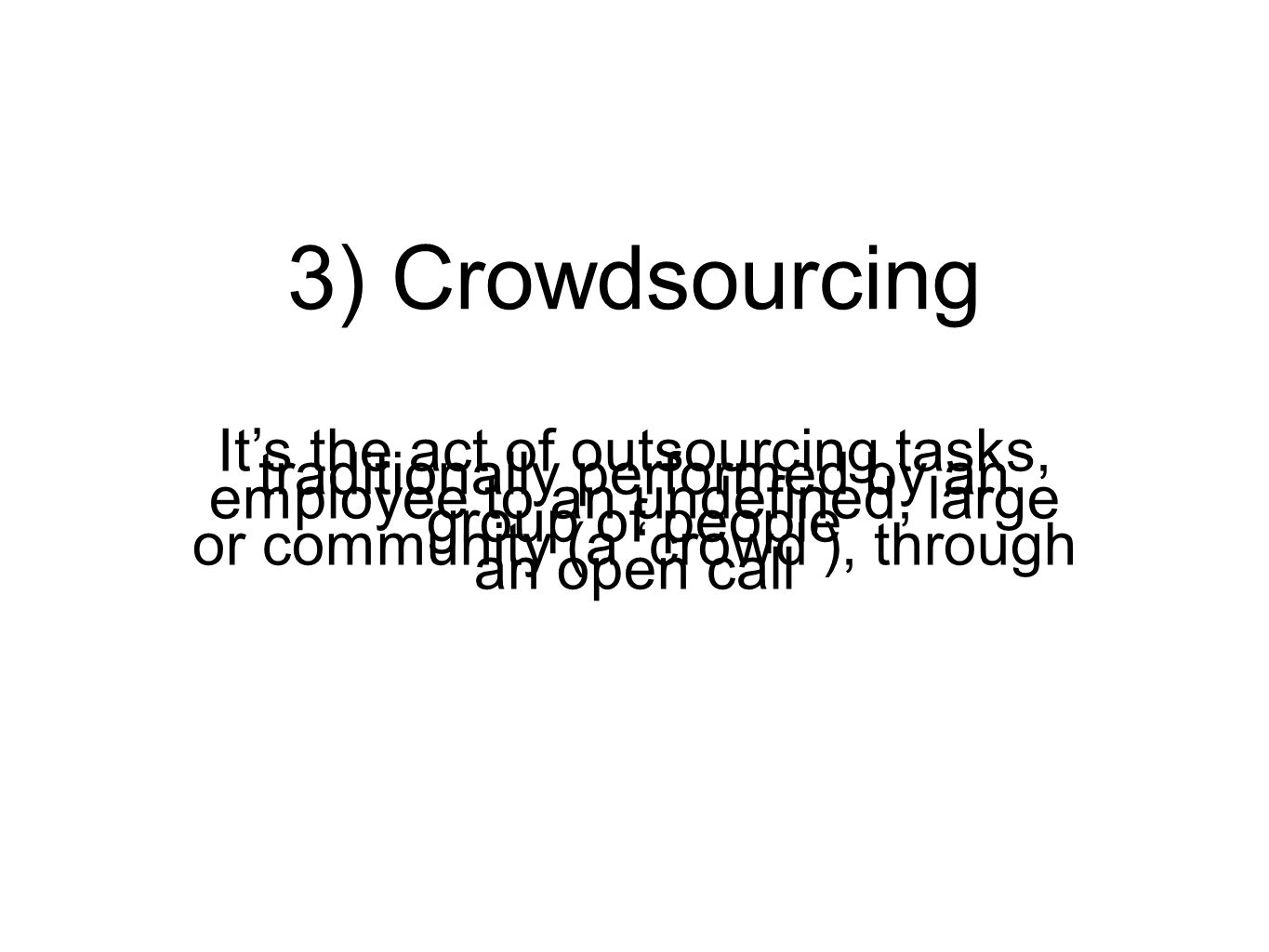 3) Crowdsourcing It's the act of outsourcing tasks, traditionally performed by an employee to an undefined, large group of people or community (a 'crowd'), through an open call