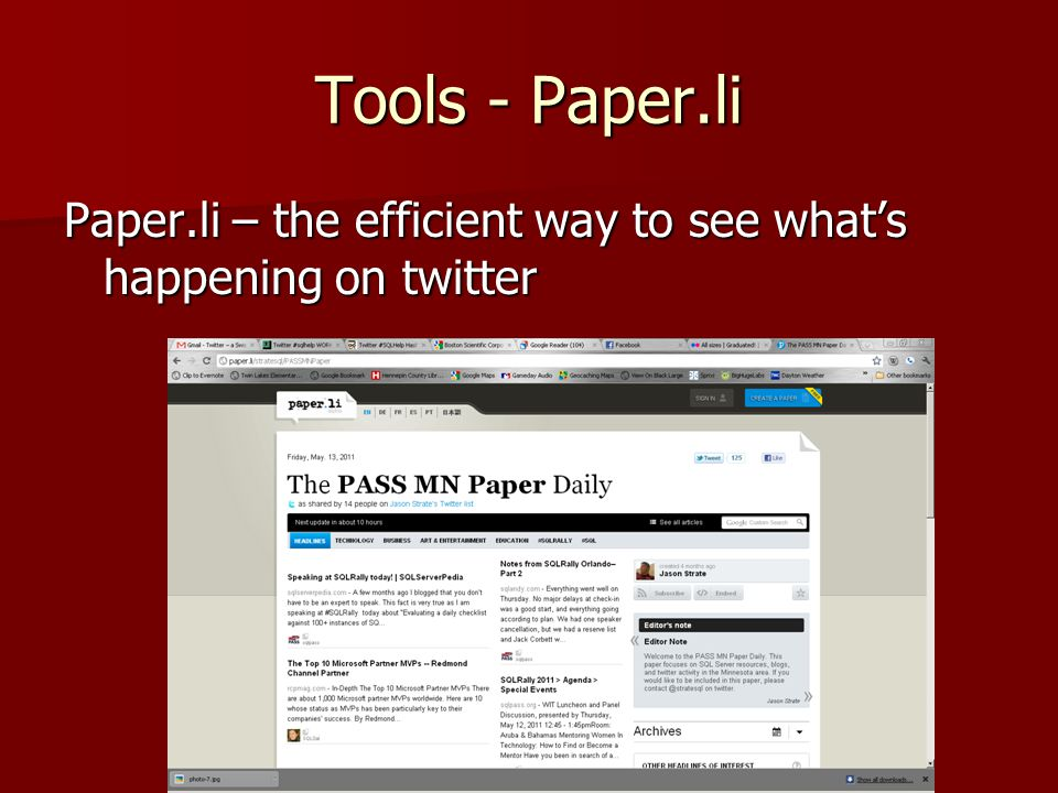 Tools - Paper.li Paper.li – the efficient way to see what's happening on twitter