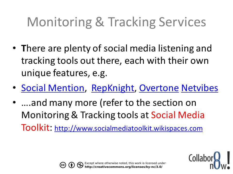 Monitoring & Tracking Services There are plenty of social media listening and tracking tools out there, each with their own unique features, e.g.