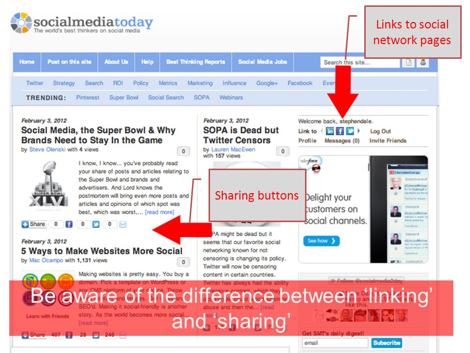 Links to social network pages Sharing buttons Be aware of the difference between 'linking' and 'sharing'