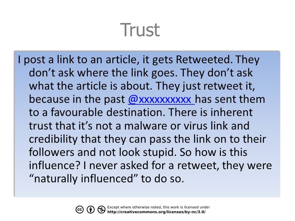 Trust I post a link to an article, it gets Retweeted.