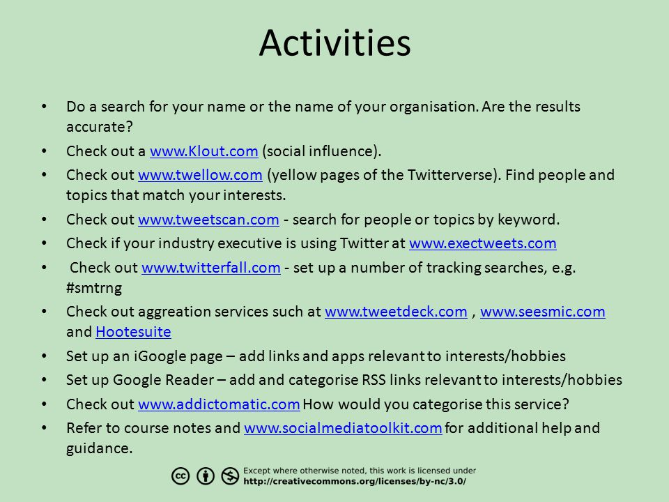 Activities Do a search for your name or the name of your organisation.