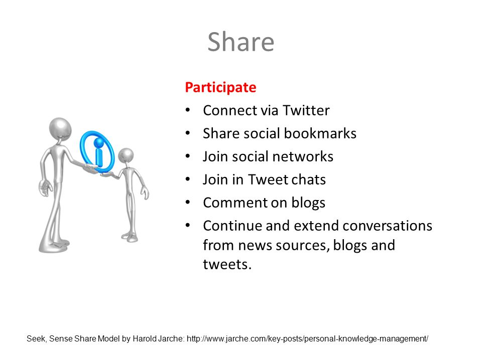 Share Participate Connect via Twitter Share social bookmarks Join social networks Join in Tweet chats Comment on blogs Continue and extend conversations from news sources, blogs and tweets.