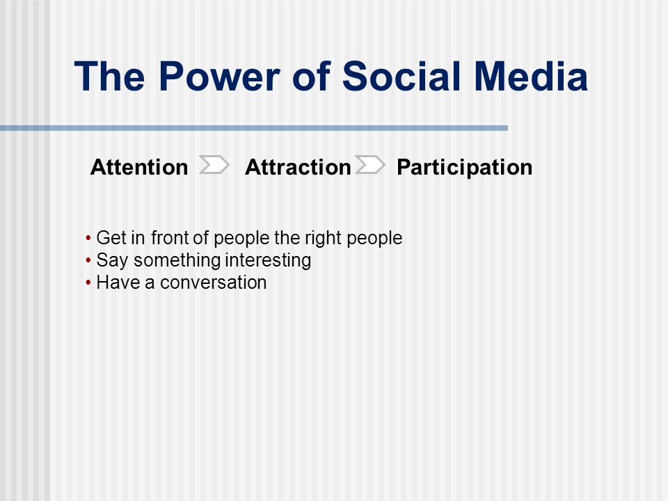 The Power of Social Media AttentionAttractionParticipation Get in front of people the right people Say something interesting Have a conversation
