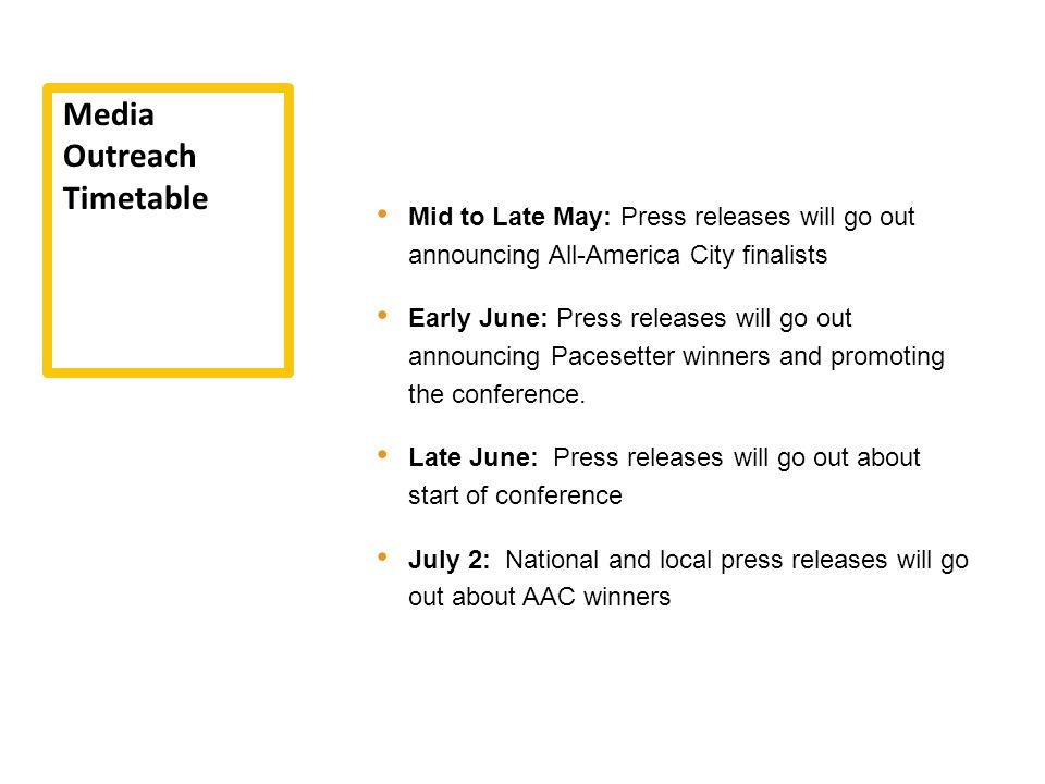 Mid to Late May: Press releases will go out announcing All-America City finalists Early June: Press releases will go out announcing Pacesetter winners and promoting the conference.