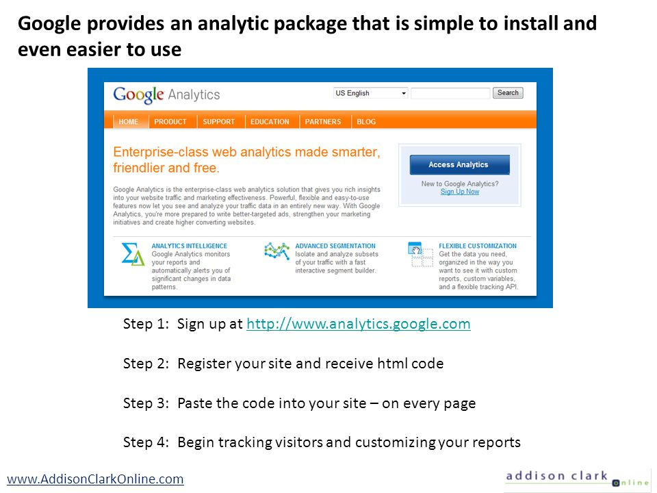 Step 1: Sign up at http://www.analytics.google.comhttp://www.analytics.google.com Step 2: Register your site and receive html code Step 3: Paste the c