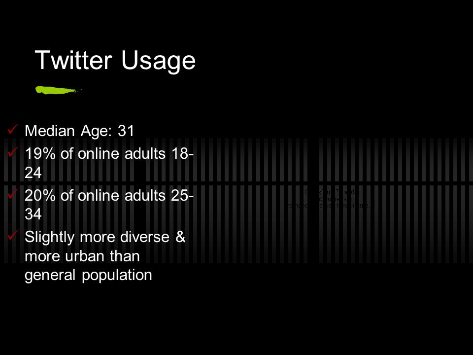 Twitter Usage Median Age: 31 19% of online adults 18- 24 20% of online adults 25- 34 Slightly more diverse & more urban than general population