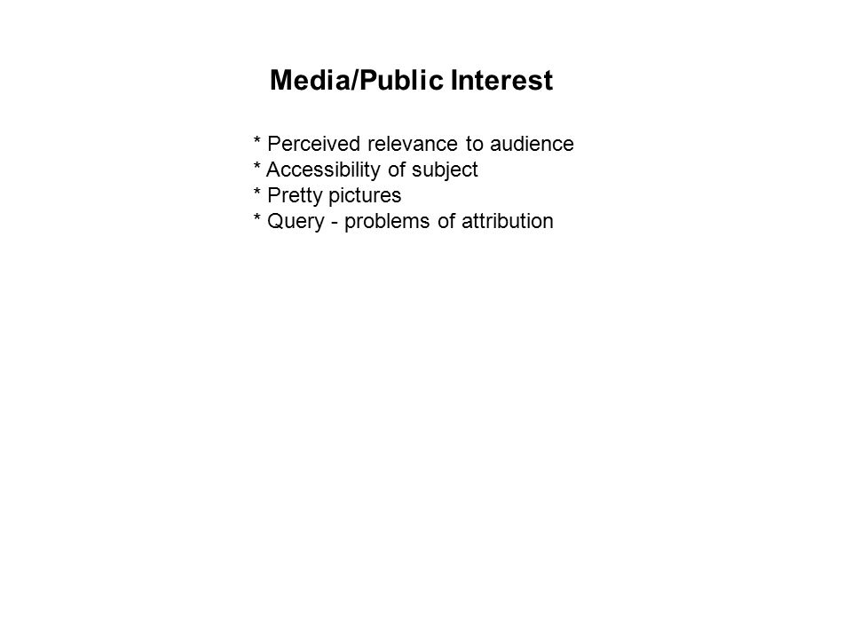 Media/Public Interest * Perceived relevance to audience * Accessibility of subject * Pretty pictures * Query - problems of attribution