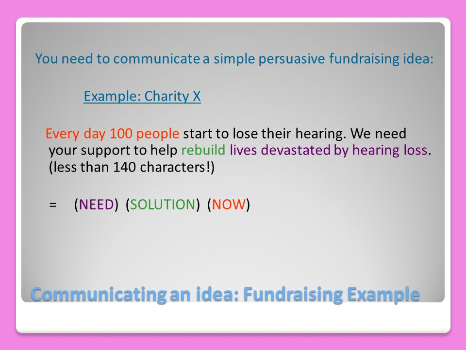 Communicating an idea: Fundraising Example You need to communicate a simple persuasive fundraising idea: Example: Charity X Every day 100 people start