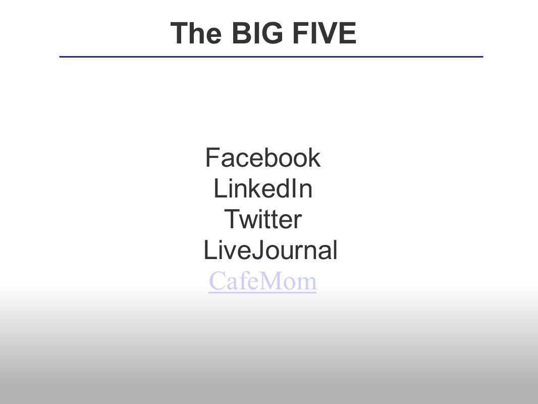 Facebook LinkedIn Twitter LiveJournal CafeMom The BIG FIVE