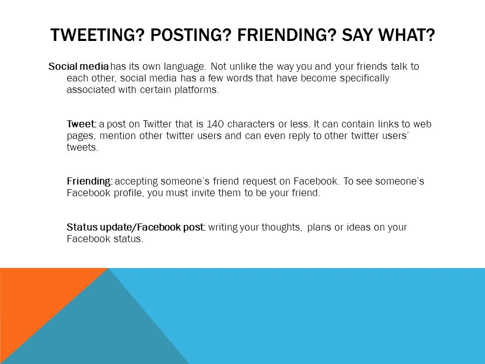 TWEETING. POSTING. FRIENDING. SAY WHAT. Social media has its own language.