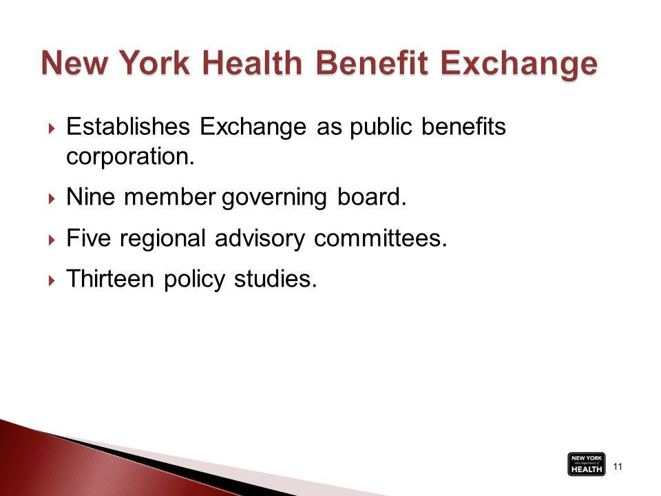  Establishes Exchange as public benefits corporation.