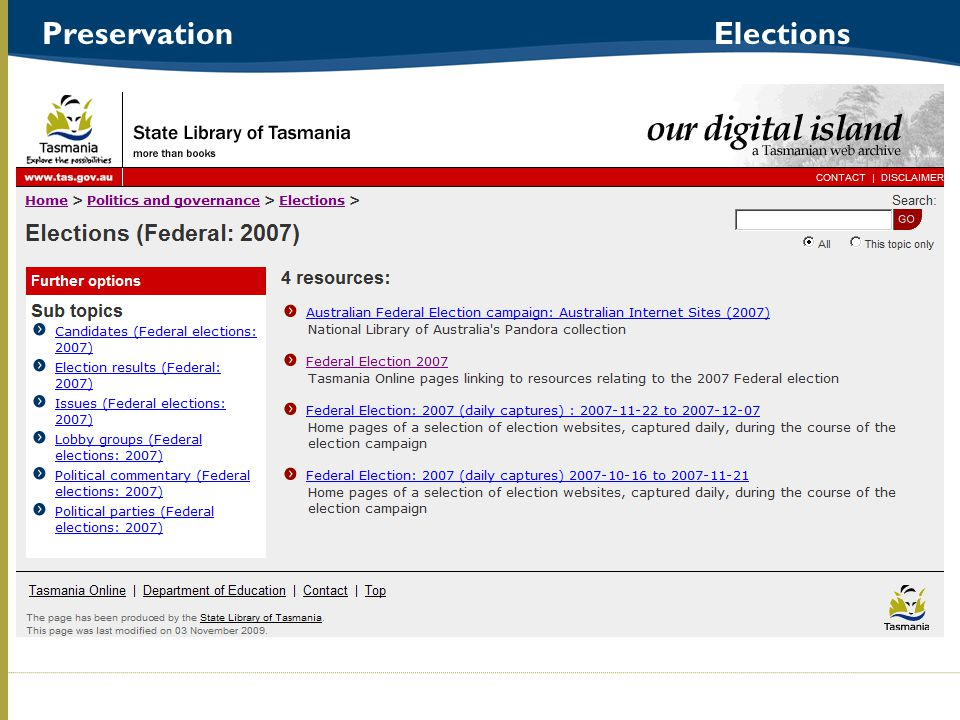 Preservation Elections