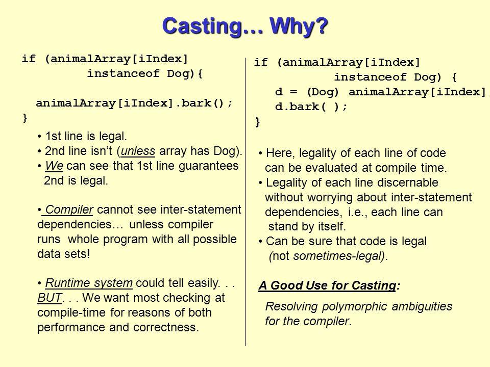 Casting… Why? if (animalArray[iIndex] instanceof Dog){ animalArray[iIndex].bark(); } if (animalArray[iIndex] instanceof Dog) { d = (Dog) animalArray[i