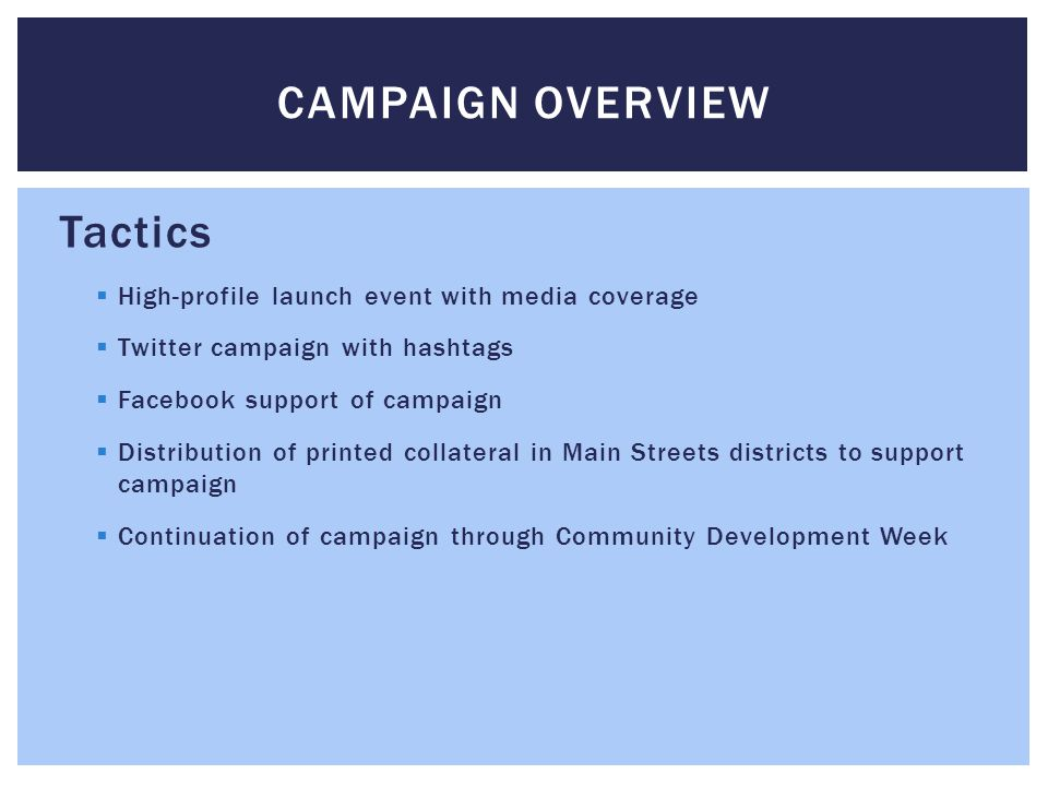 Tactics  High-profile launch event with media coverage  Twitter campaign with hashtags  Facebook support of campaign  Distribution of printed collateral in Main Streets districts to support campaign  Continuation of campaign through Community Development Week CAMPAIGN OVERVIEW