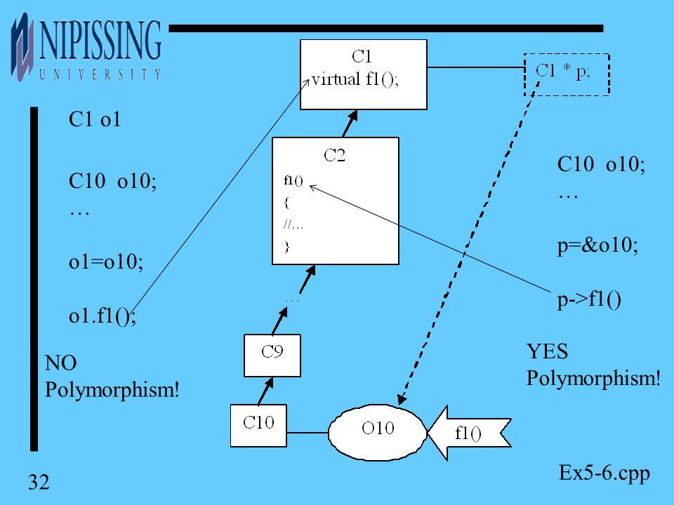 32 C10 o10; … p=&o10; p->f1() C1 o1 C10 o10; … o1=o10; o1.f1(); NO Polymorphism.