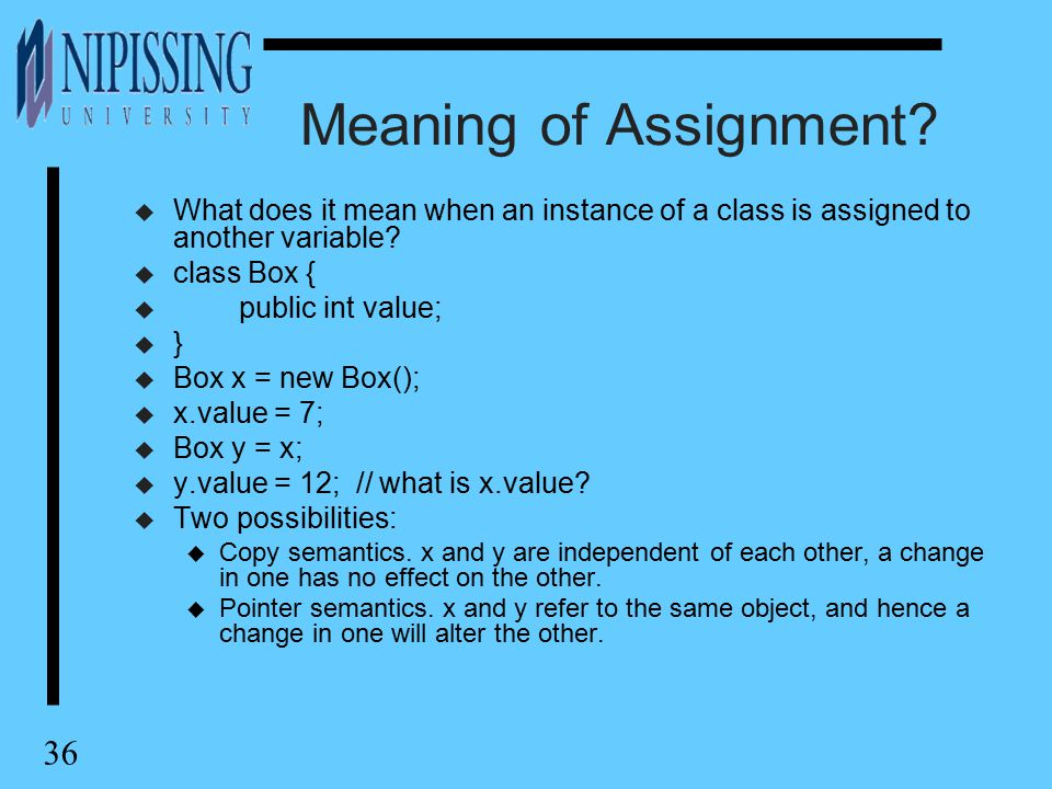 36 Meaning of Assignment.