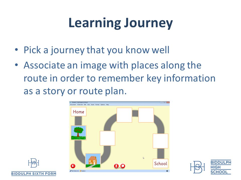 Learning Journey Pick a journey that you know well Associate an image with places along the route in order to remember key information as a story or route plan.