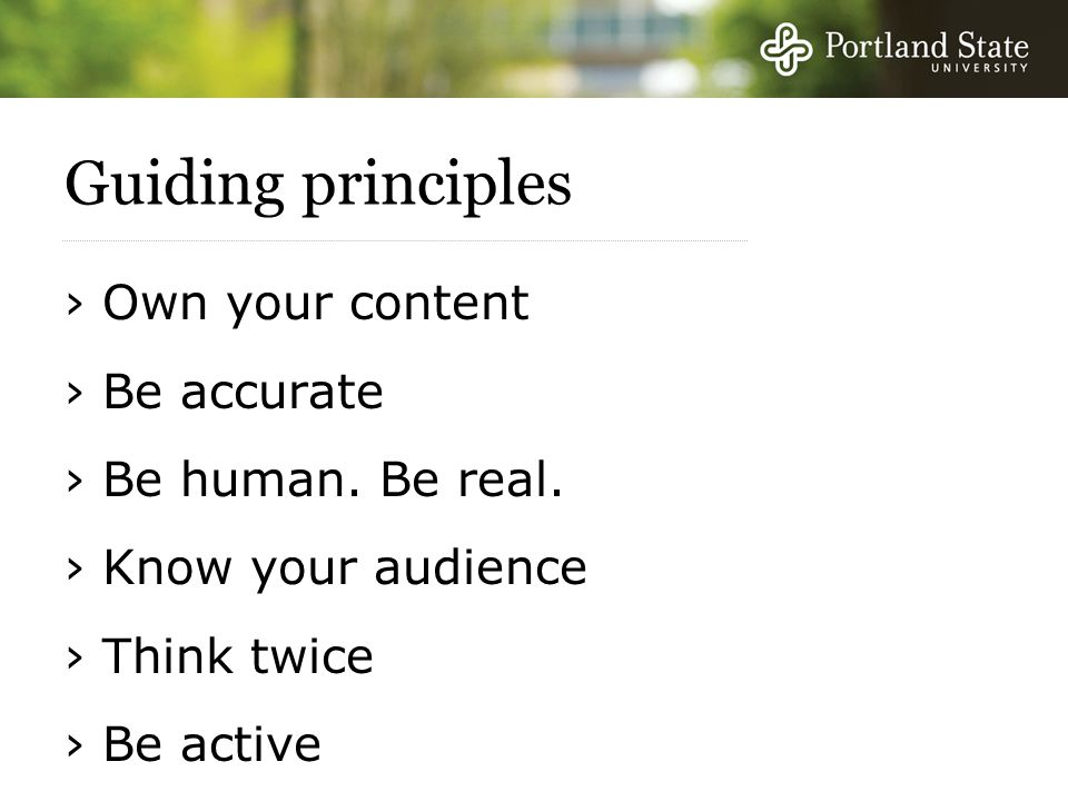 Guiding principles › Own your content › Be accurate › Be human.
