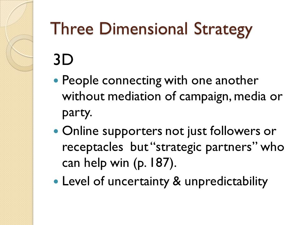 Three Dimensional Strategy 3D People connecting with one another without mediation of campaign, media or party.