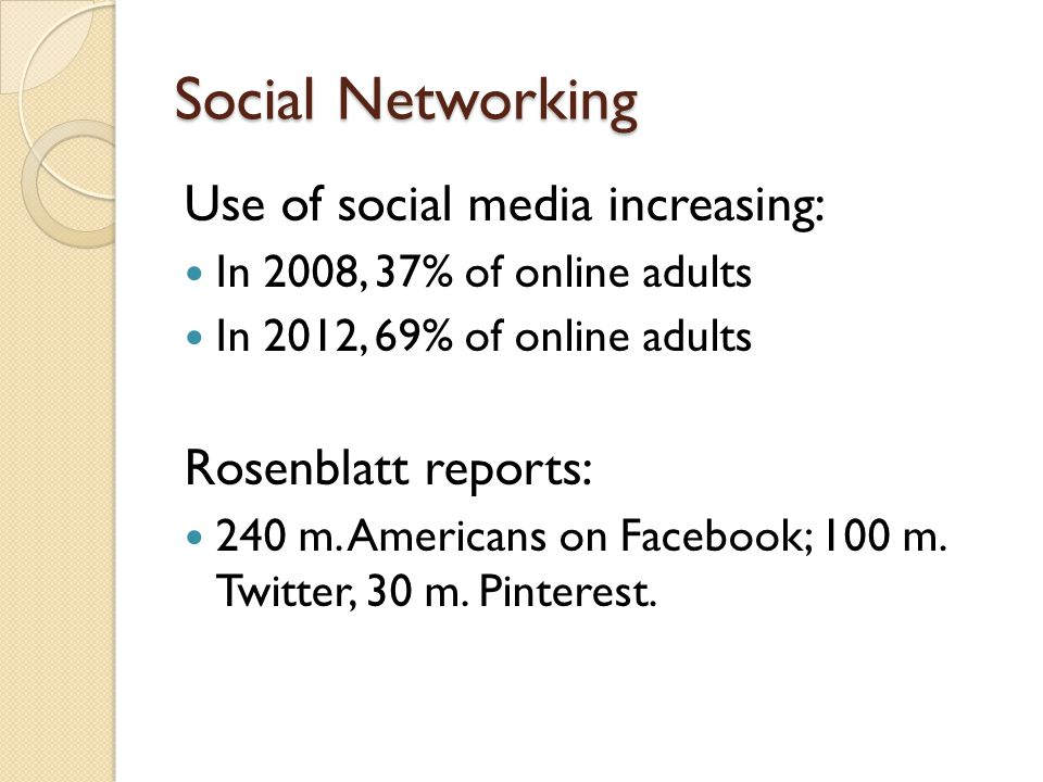Social Networking Use of social media increasing: In 2008, 37% of online adults In 2012, 69% of online adults Rosenblatt reports: 240 m.