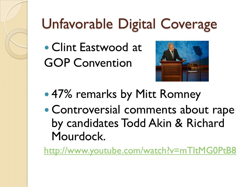 Unfavorable Digital Coverage Clint Eastwood at GOP Convention 47% remarks by Mitt Romney Controversial comments about rape by candidates Todd Akin & Richard Mourdock.