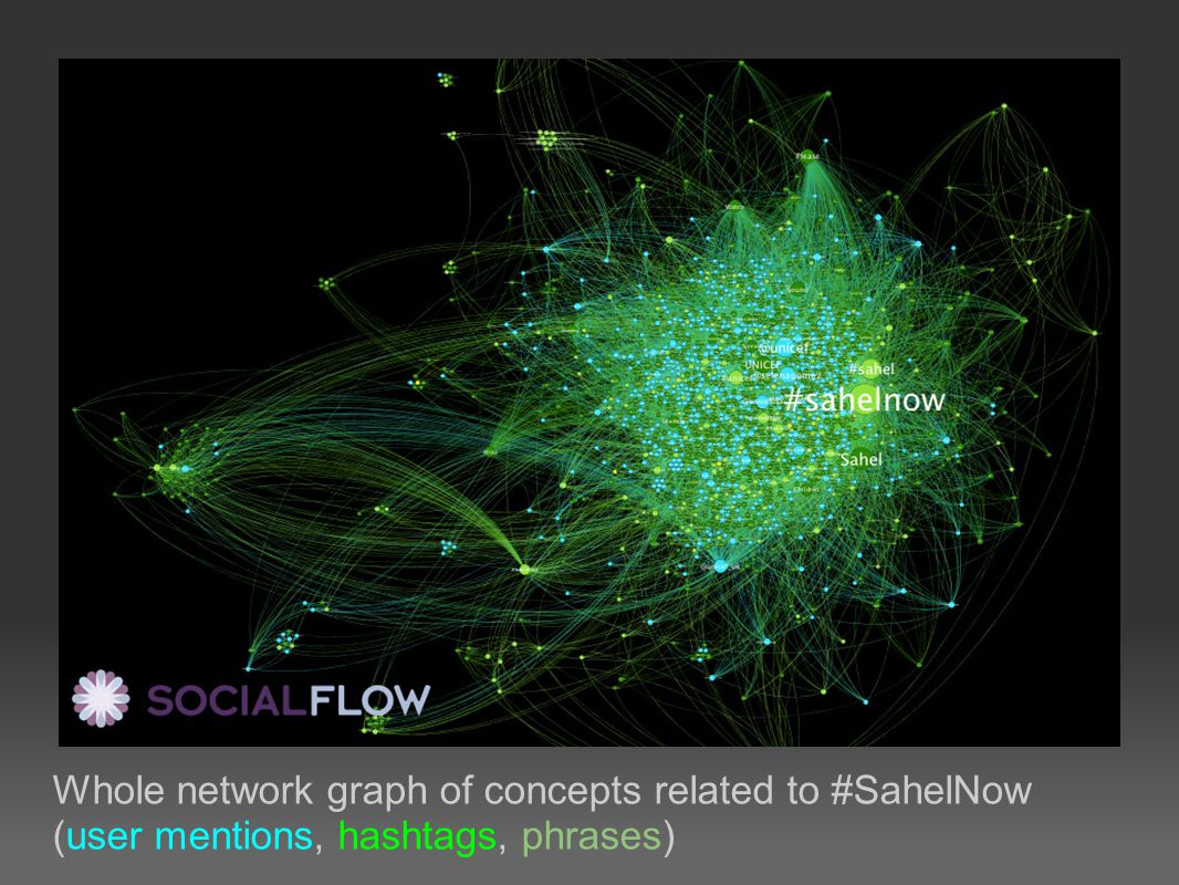 Whole network graph of concepts related to #SahelNow (user mentions, hashtags, phrases)