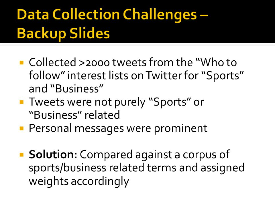  Collected >2000 tweets from the Who to follow interest lists on Twitter for Sports and Business  Tweets were not purely Sports or Business related  Personal messages were prominent  Solution: Compared against a corpus of sports/business related terms and assigned weights accordingly